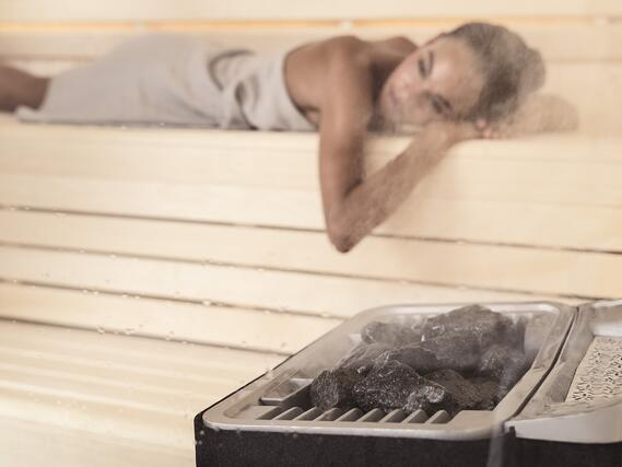 Harmony sauna room with Sense Combi heater