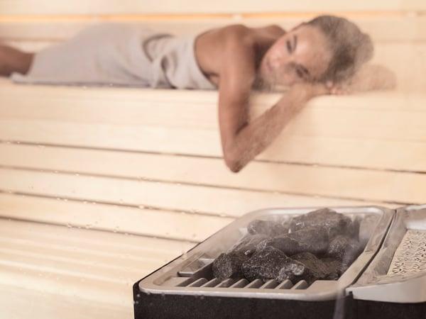 Harmony sauna room with Sense Combi heater
